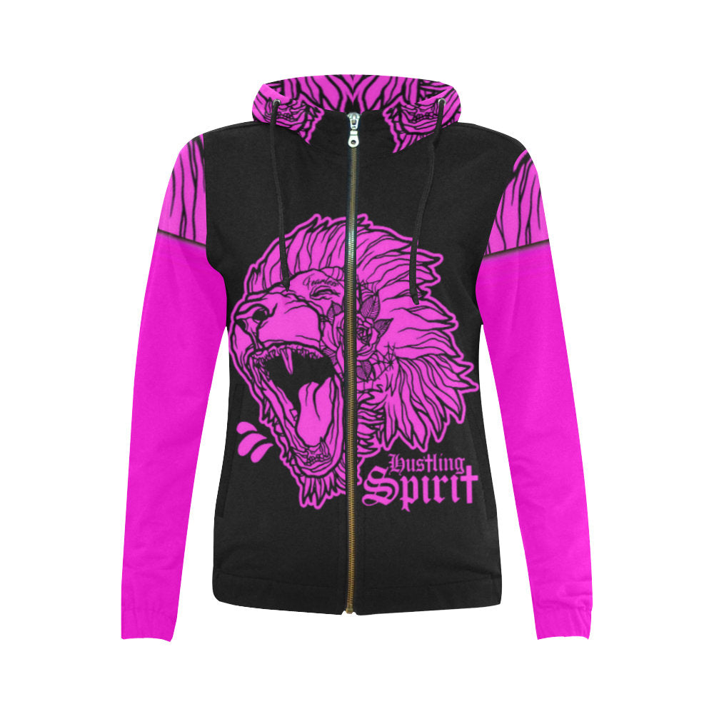 Fearless Lion Hot Pink Zip Up Hoody
