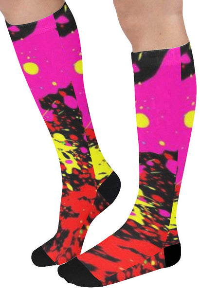 Compass Paint Splatter Female Knee High Socks (1 Pair)