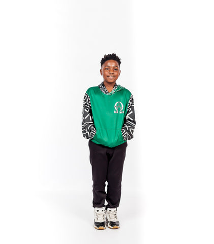 Alpha Omega Unisex Green Kid Hoody