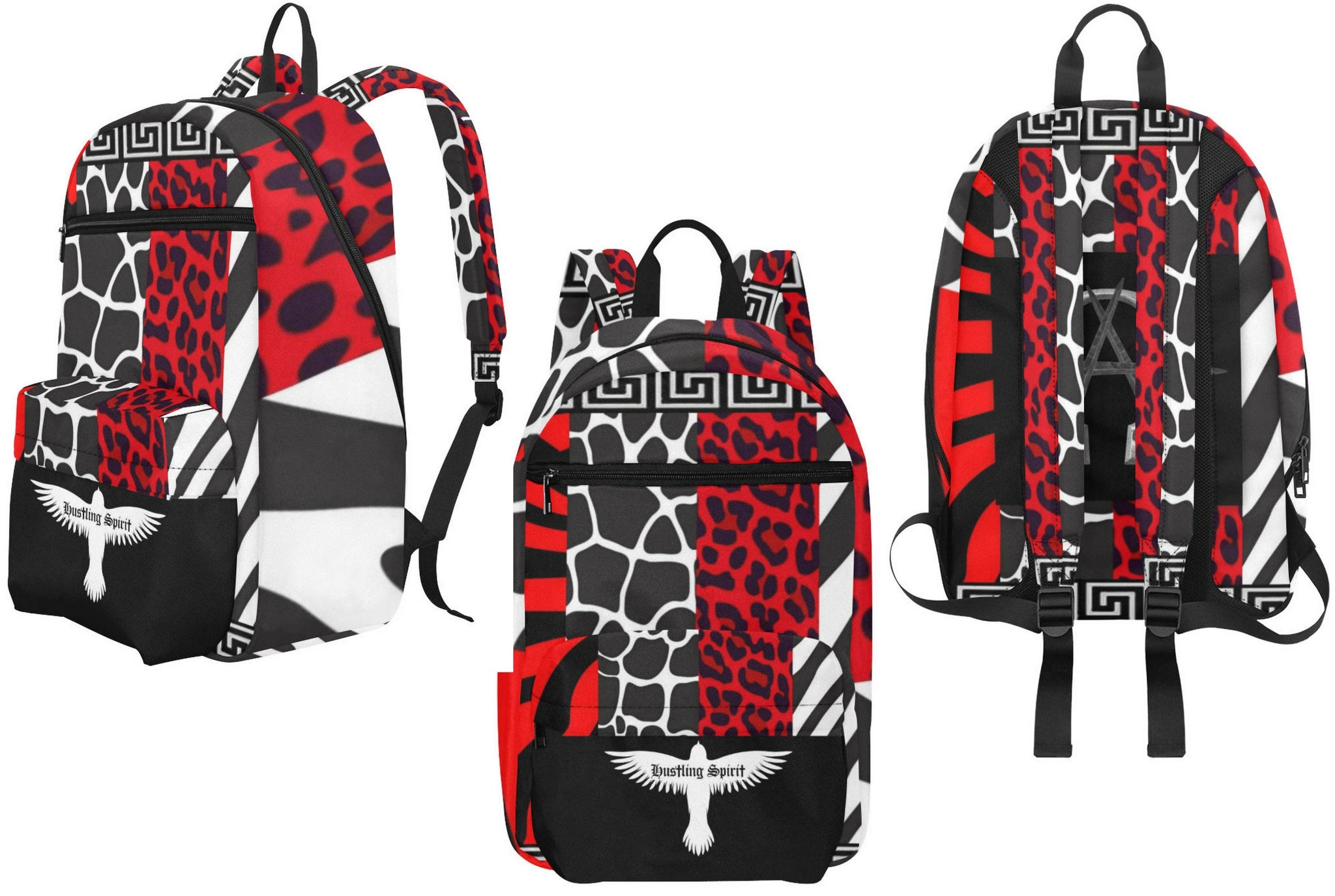 AΩ Alpha Omega Animal Print Red Large Capacity Travel Backpack