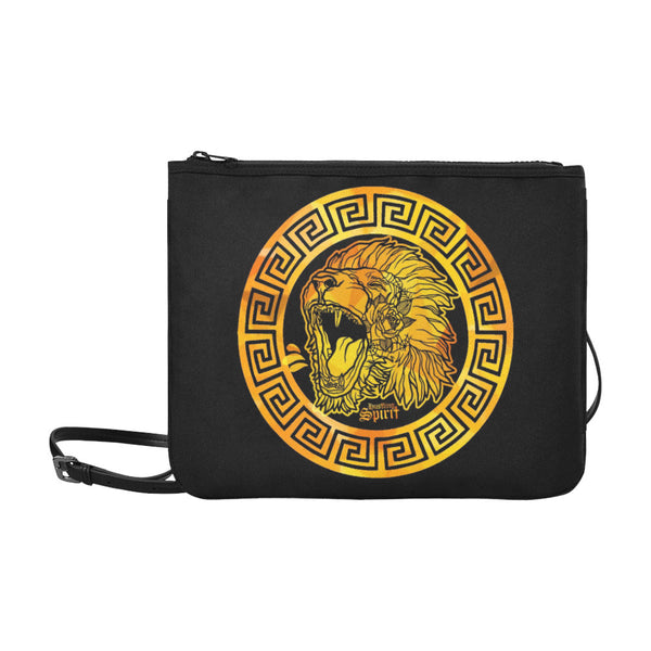 Fearless Lion Gold Slim Clutch Bag