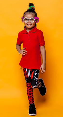 AΩ Alpha & Omega Kids Leggings Animal Print Red