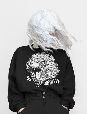 Fearless Lion Black and White Classic Crewneck Sweatshirt