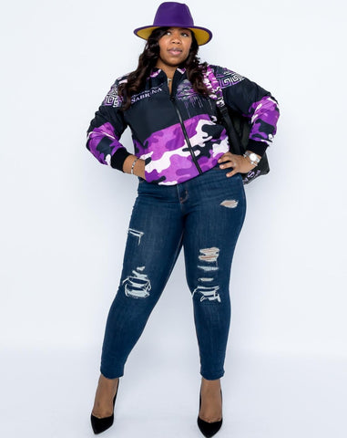 Footsteps  Lavender Camo Flight Jacket