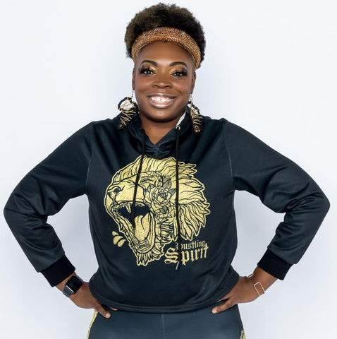 Fearless Lion Hot Gold Shine Crop Top Hoodie
