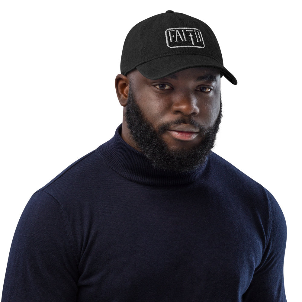 Faith V Black Denim Hat
