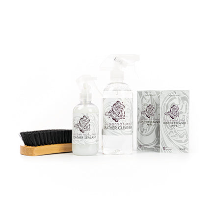 Supernatural Leather Care Kit - includes award-winning cleaner, sealant, brush and wipes (5 items) £3 saving