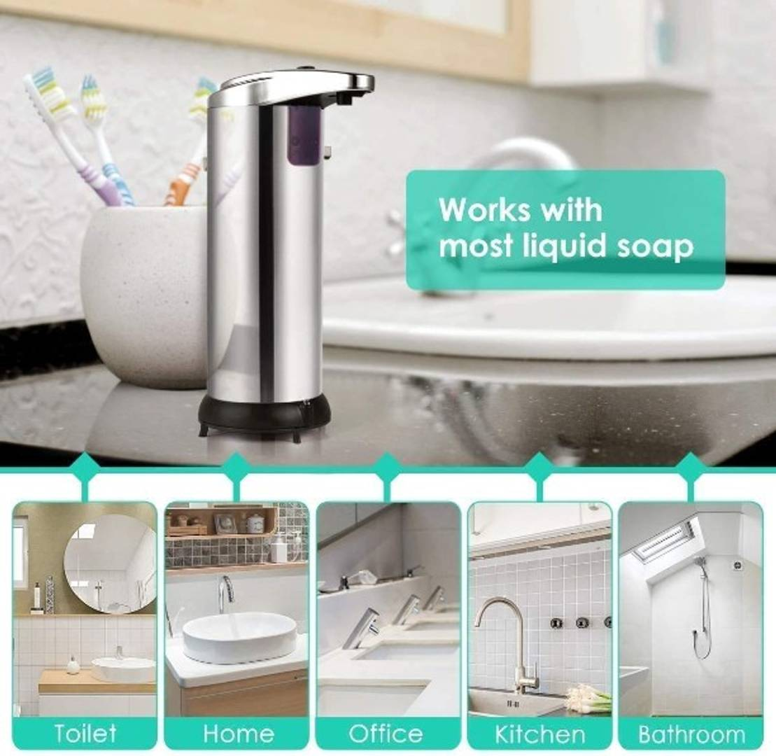 Automatic Soap Dispenser, Touchless Stainless Steel Auto Hand Soap Dispenser, Waterproof Base Infrared Motion Activated Sensor, Suitable for Bathroom Kitchen Restaurant