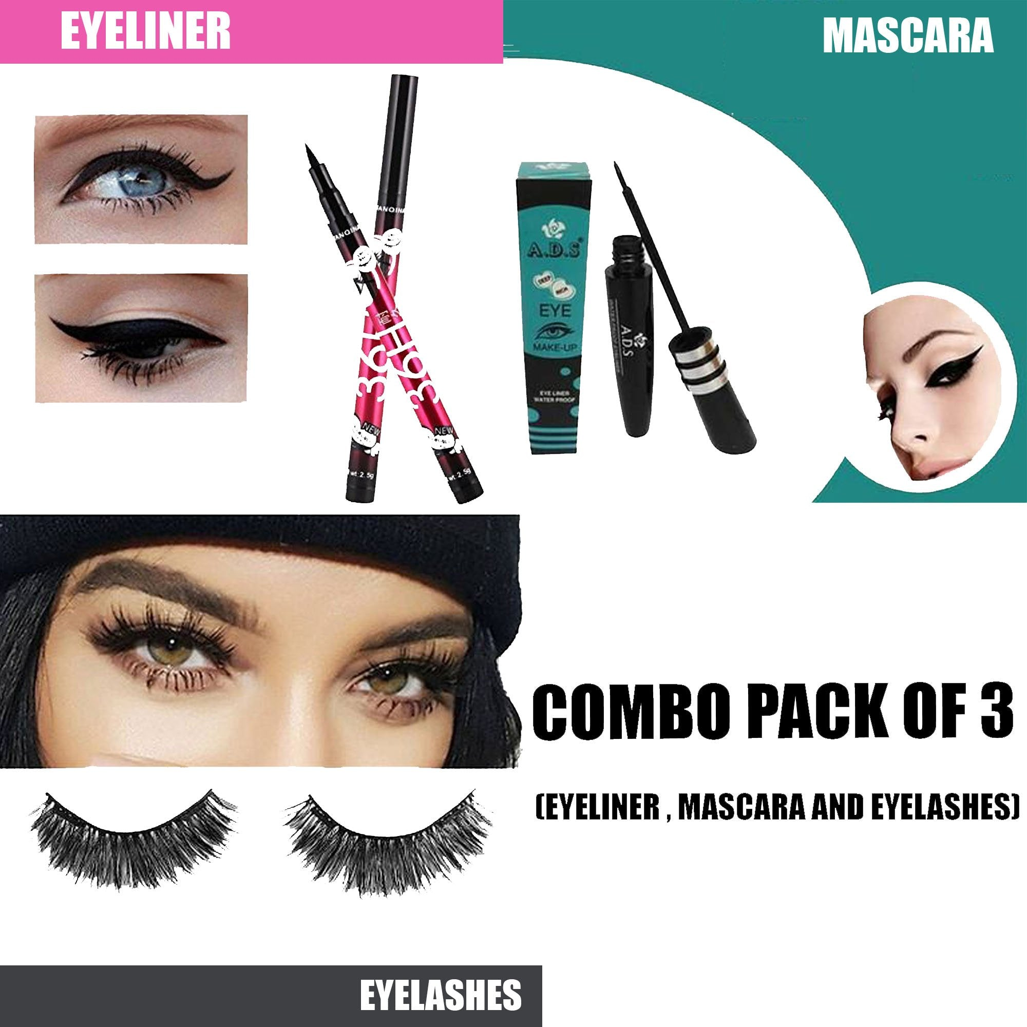 Combo Pack of Eyeliner, Mascara and Eyelashes - SAVE 61 % Today!