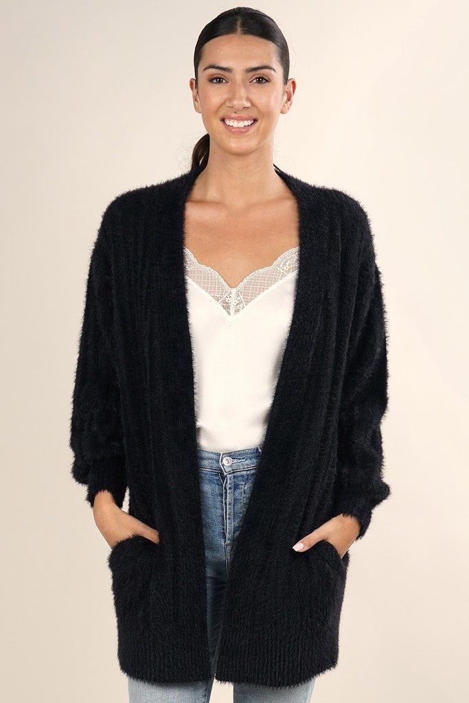 [Color: Black] Soft and super cute fuzzy long cardigan sweater with ribbed details and side pockets.