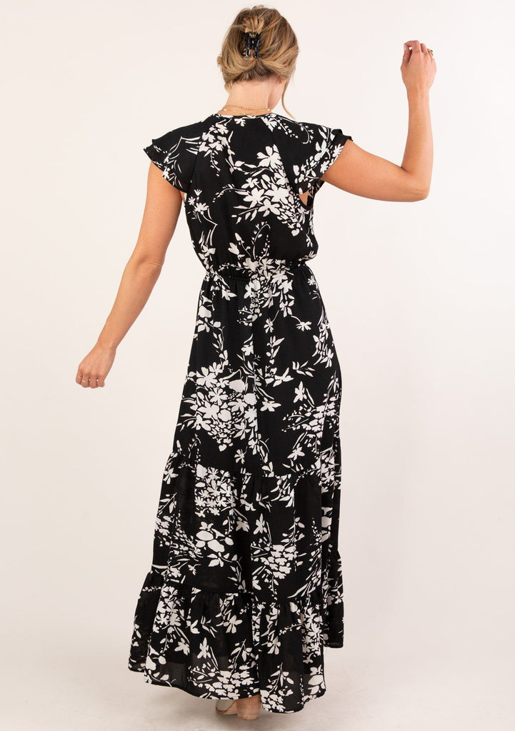 [Color: Black] Adorable tiered ruffle hem maxi dress with ruffle sleeve and white floral print