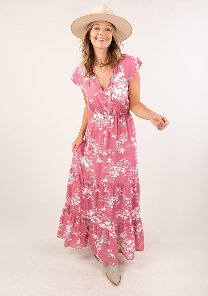 [Color: Dusty Rose] Adorable tiered ruffle hem maxi dress with ruffle sleeve and white floral print