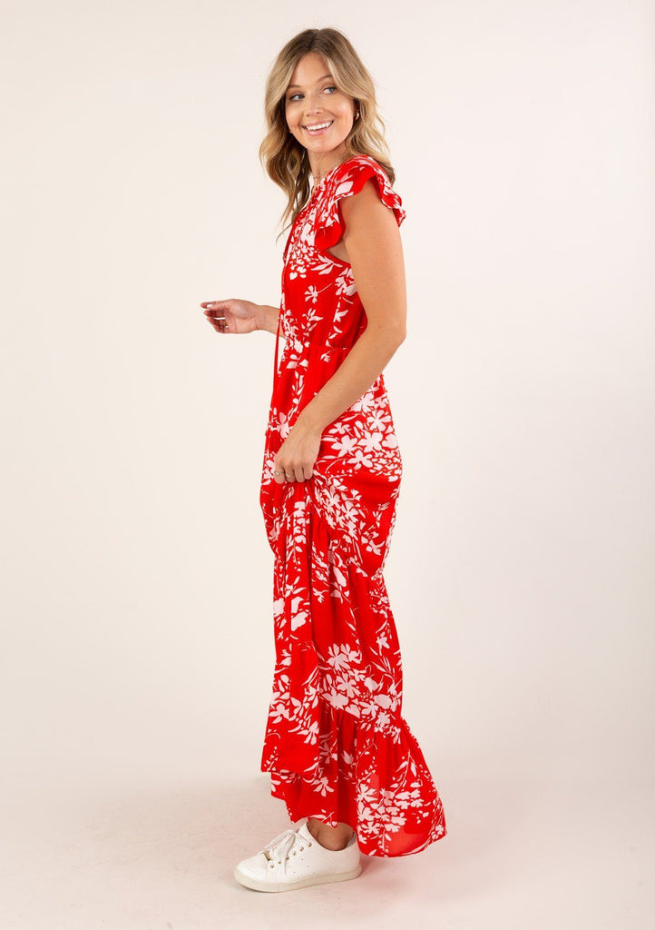 [Color: Fire] Adorable tiered ruffle hem maxi dress with ruffle sleeve and white floral print