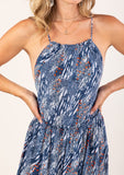 [Color: Navy Ash] Beautiful abstract animal print maxi dress with a cute round neckline and spaghetti straps, and open back detail