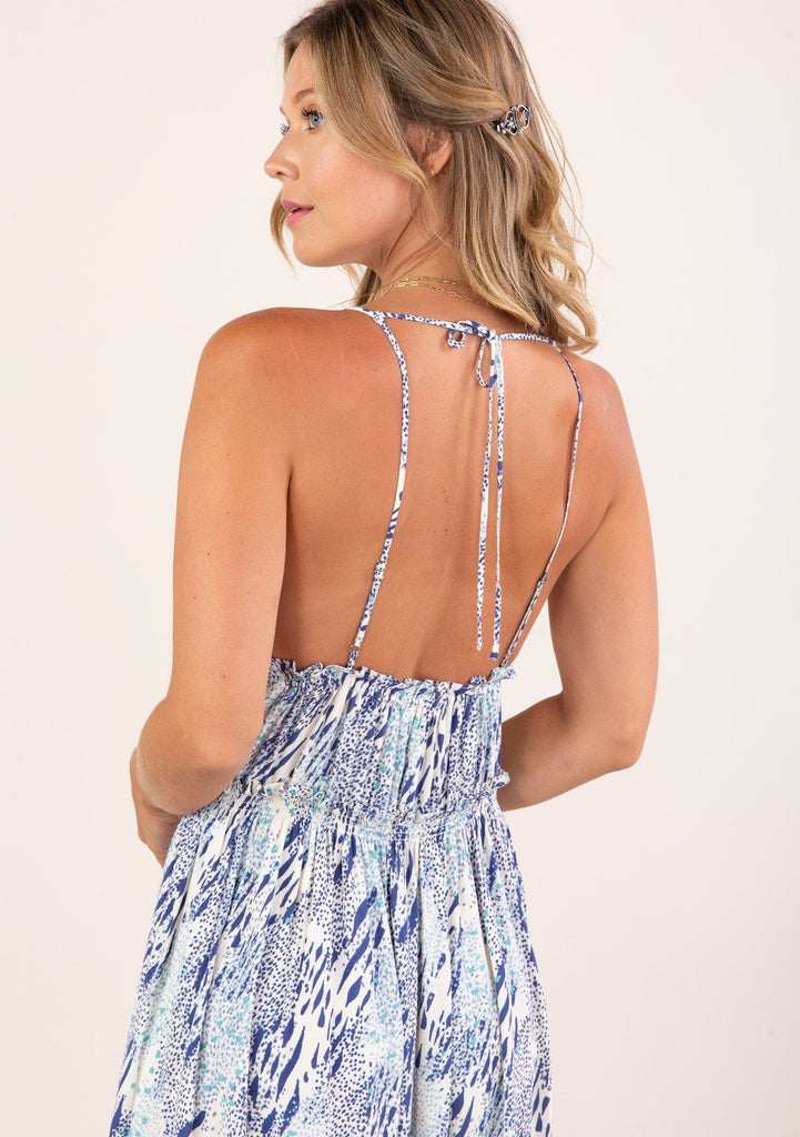 [Color: Ivory Blue] Beautiful abstract animal print maxi dress with a cute round neckline and spaghetti straps