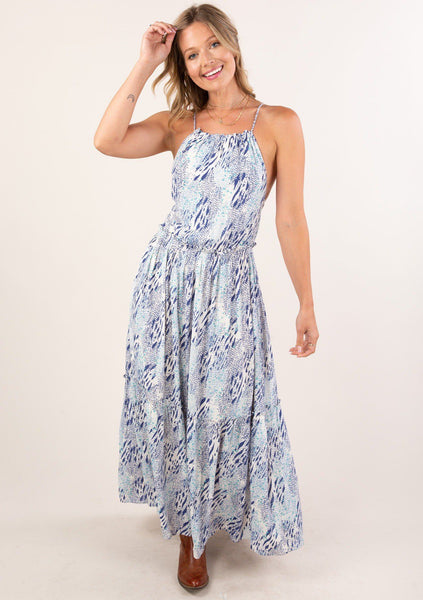Blue Crush Tie Back Maxi Dress