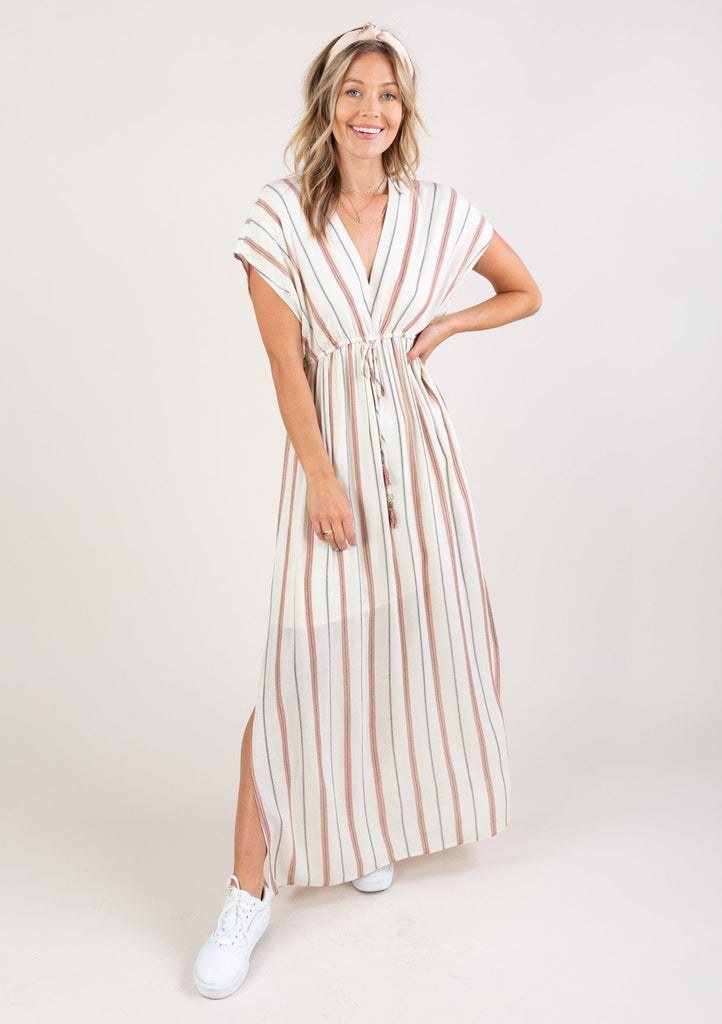 [Color: Rust Ivory] Bohemian beach maxi dress with stripes, v neckline, tie back detail and flattering short sleeves