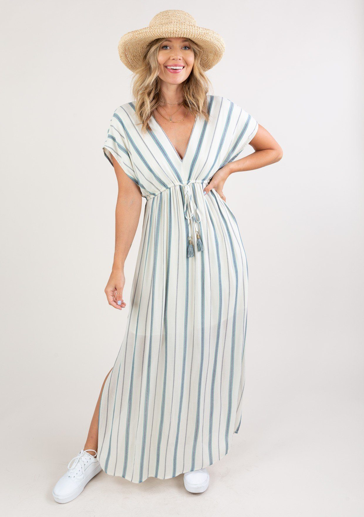 [Color: Blue Ivory] Bohemian beach maxi dress with stripes, v neckline, tie back detail and flattering short sleeves