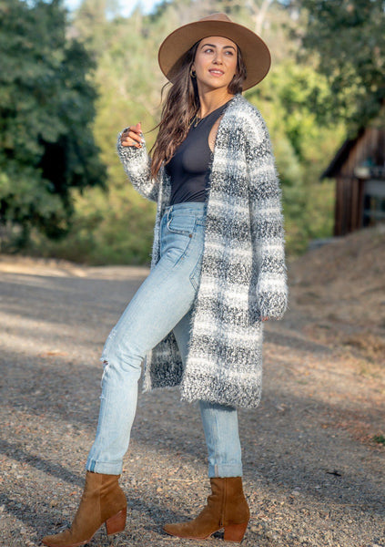 Moonbeam Striped Fuzzy Cardigan