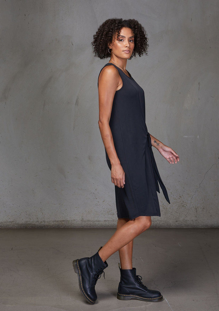 [Color: Black] A modal blend tank dress. Featuring a flattering scooped neckline and tie front detail for definition.