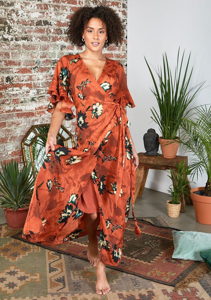 [Color: Rust] Beautiful bold floral print maxi dress with ruffled short sleeves and wrap front.