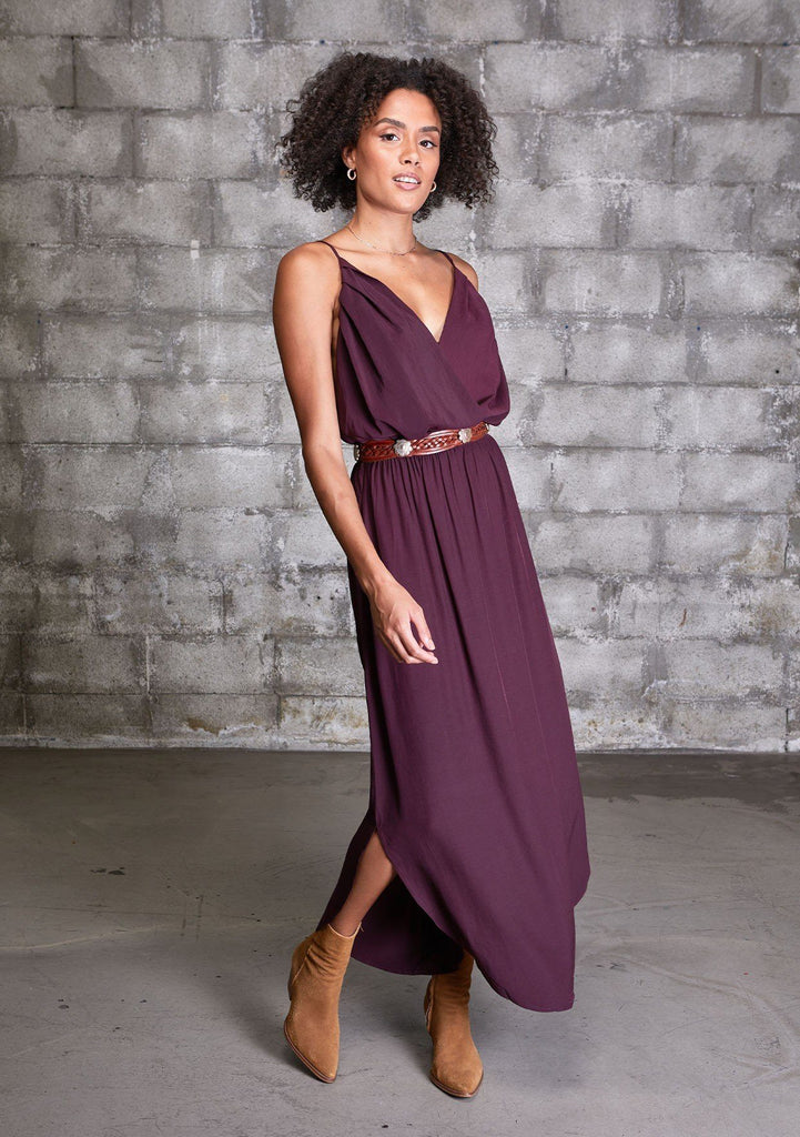 [Color: Eggplant] It does not get much better than this stunning maxi dress. Featuring a sexy low back, a deep v neckline wrap top, and subtle side slits for movement.