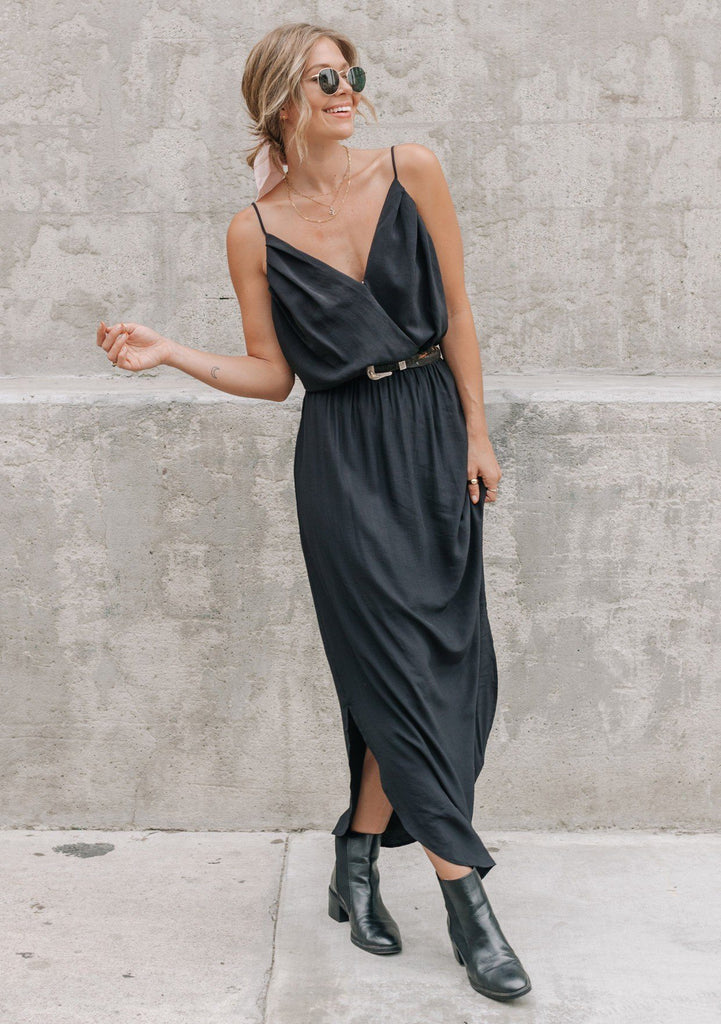 [Color: Black] It does not get much better than this stunning maxi dress. Featuring a sexy low back, a deep v neckline wrap top, and subtle side slits for movement.