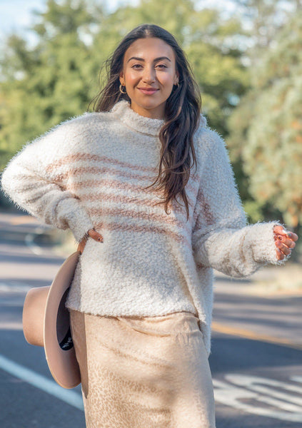 Snuggly Striped Fuzzy Pullover