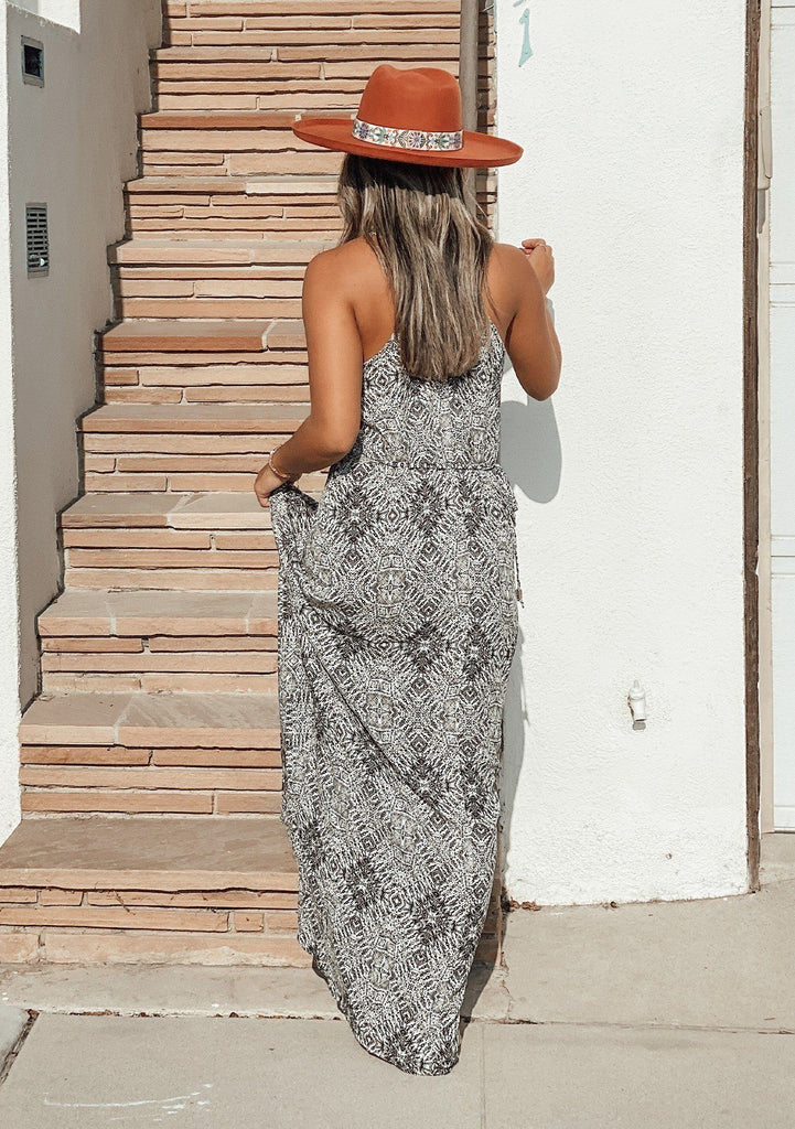 [Color: Black/Natural] A printed spaghetti strap flowy maxi dress.