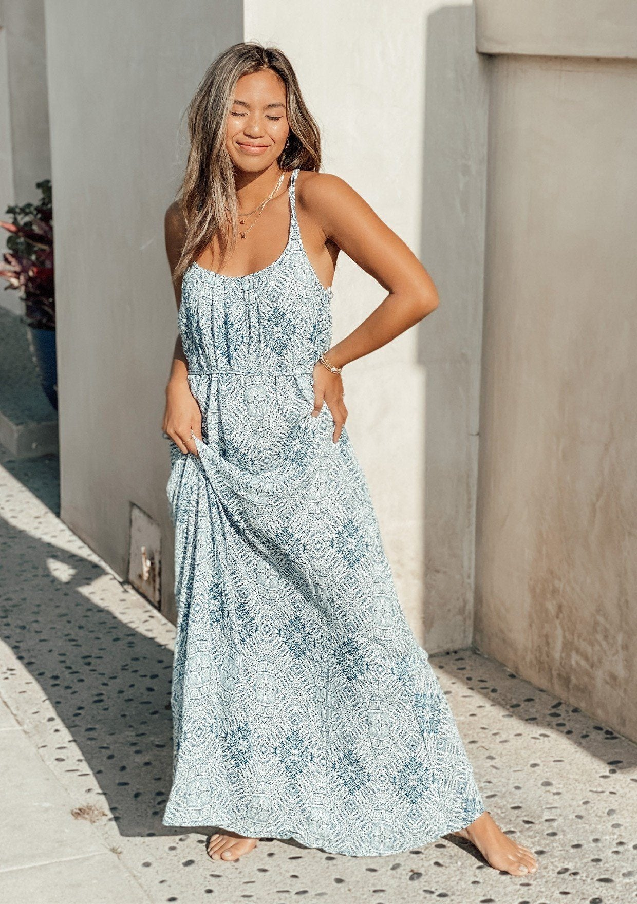 [Color: Ocean/Natural] A printed spaghetti strap flowy maxi dress.