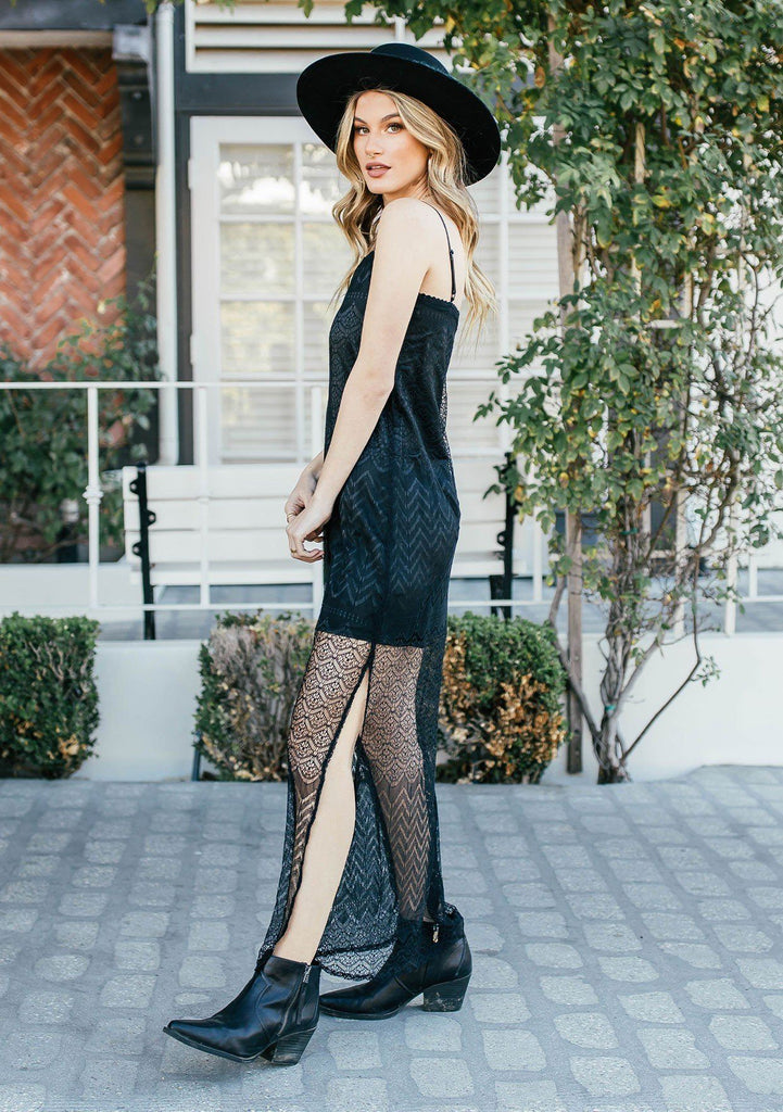 [Color: Black] Unique black mini dress with sheer lace maxi topper. Square neckline, black maxi dress.