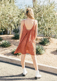 [Color: Spice] A sleeveless lace mini dress featuring a flattering scooped neckline and tent silhouette.