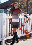 [Color: Heather Burgundy] A sophisticated mini sweater dress in a block stripe. Super soft with the right amount of stretch, this classic style features a wide crew neckline.