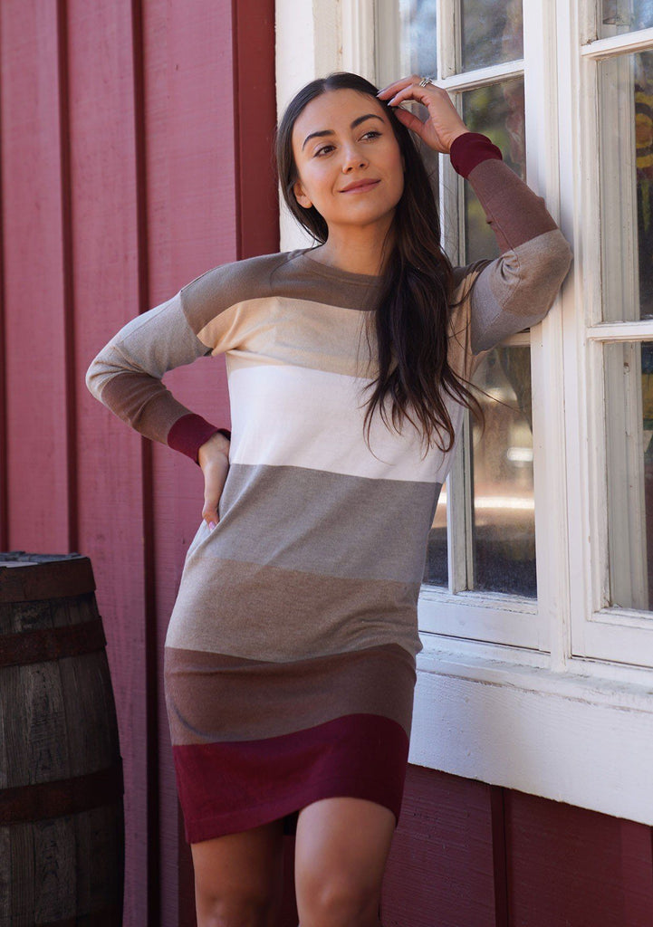 [Color: Wine/Heather Taupe] A sophisticated mini sweater dress in a block stripe. Super soft with the right amount of stretch, this classic style features a wide crew neckline.