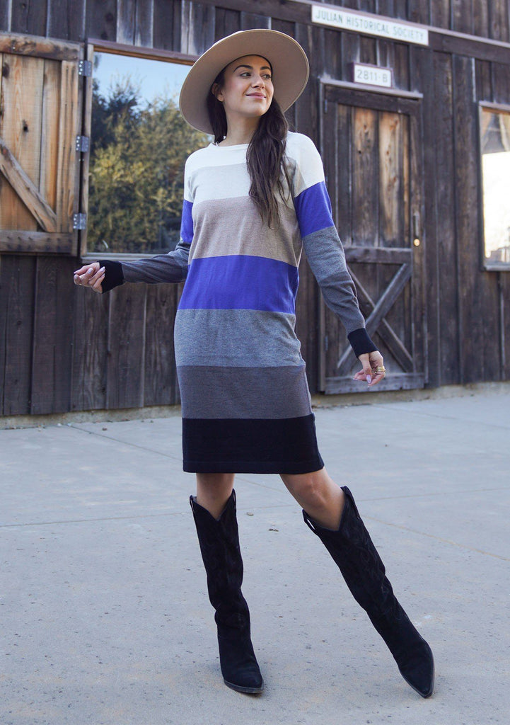 [Color: Black/Heather Pewter] A sophisticated mini sweater dress in a block stripe. Super soft with the right amount of stretch, this classic style features a wide crew neckline.