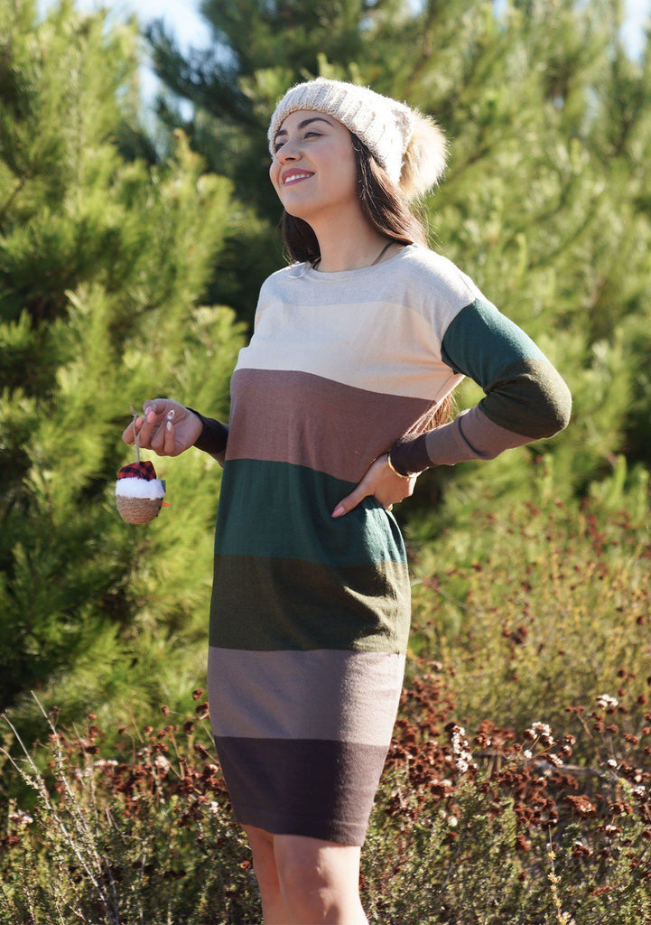 [Color: Brown/Walnut] A sophisticated mini sweater dress in a block stripe. Super soft with the right amount of stretch, this classic style features a wide crew neckline.