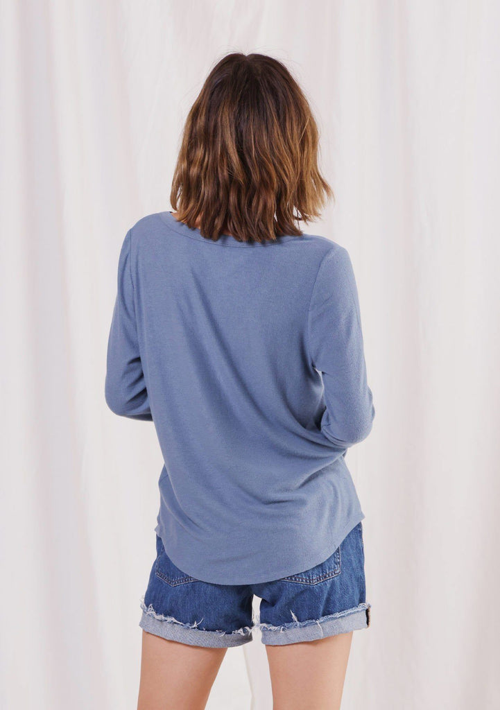 [Color: Denim] Girl wearing a micro rib blue long sleeve top.