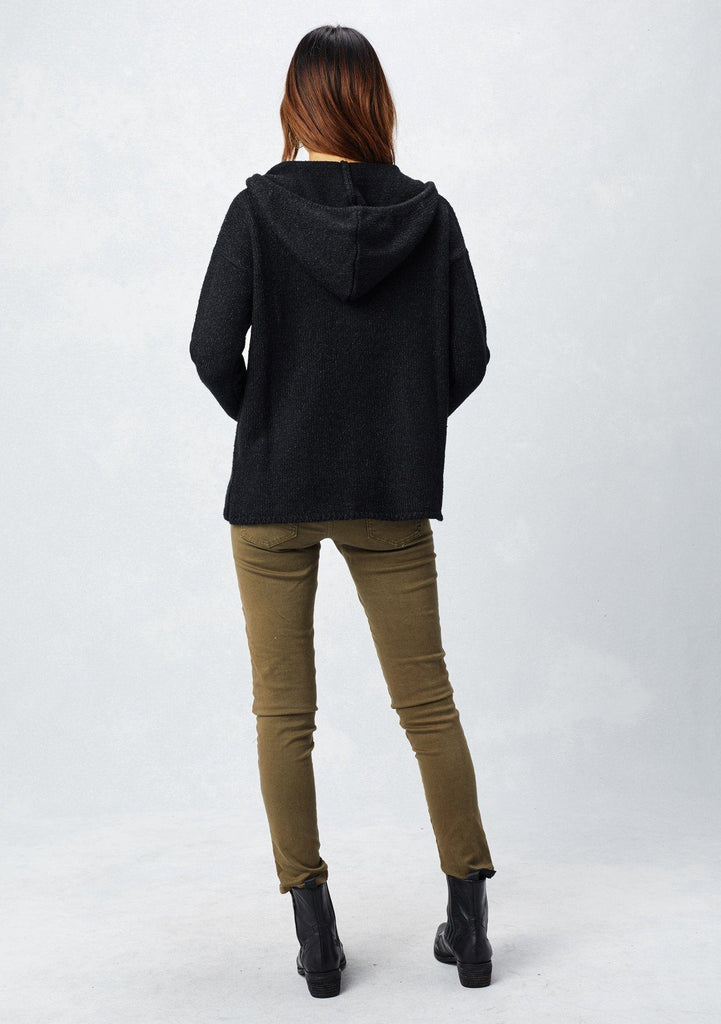 [Color: Black] Lovestitch black, cozy and super soft V-neck pullover hoodie