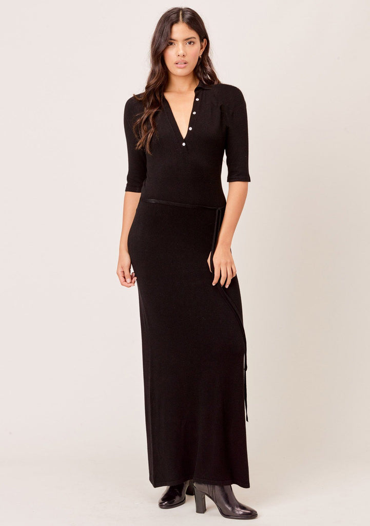 [Color: Black] Lovestitch black casual tight knit maxi dress with deep v-neckline and long sleeves