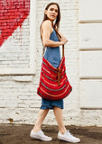 [Color: Red Multi] Lovestitch roomy and slouchy tote bag with cotton strap