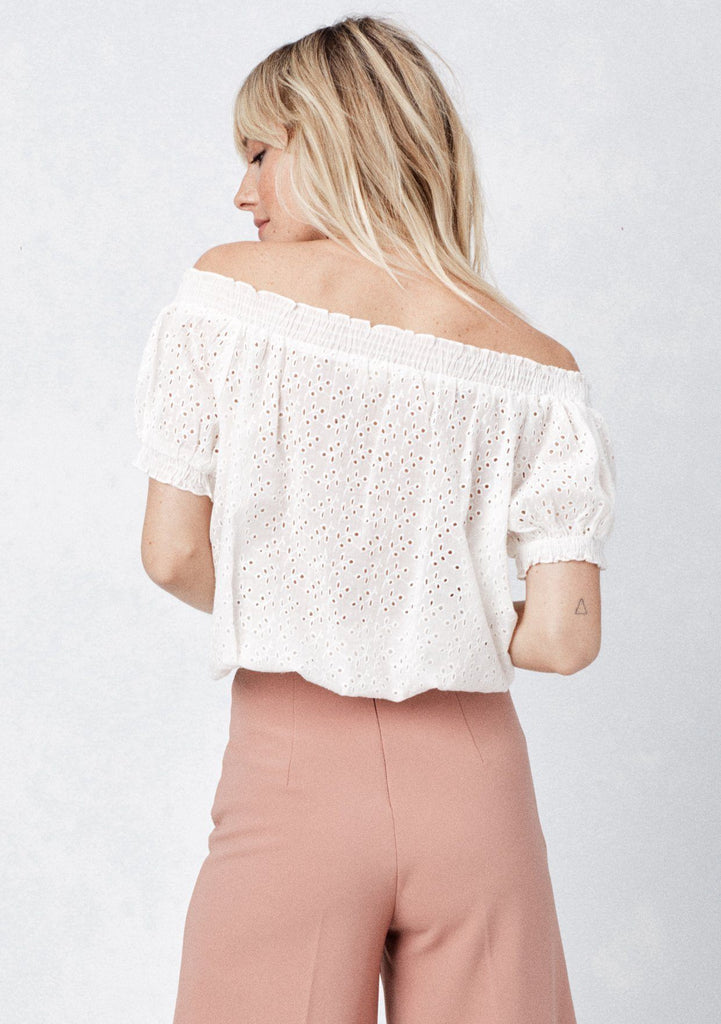 [Color: Off White] Lovestitch, white, embroidered eyelet, off-the-shoulder, short sleeve top with tie front and smocked detail at neck and waist.