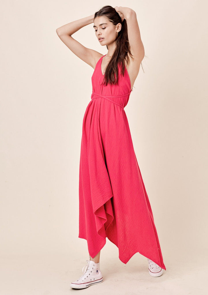 [Color: Fuchsia] Lovestitch V-neckline, fuchsia pink cotton dress with versatile long straps and backless detail