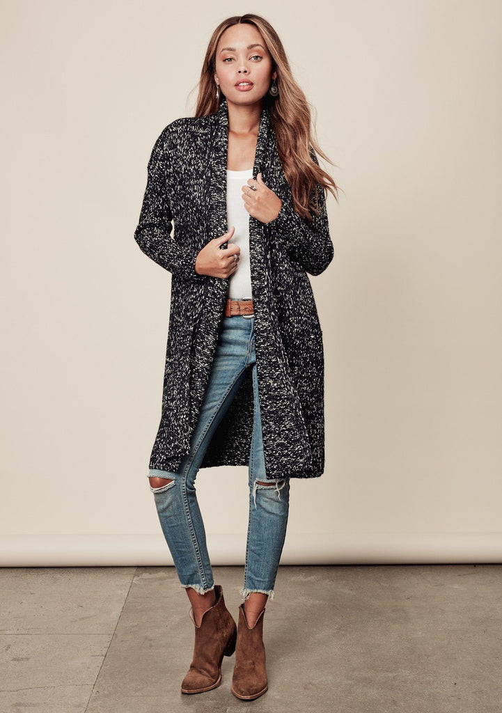 [Color: Black/Natural] Affordable high quality black and white speckled mid length cardigan with pockets
