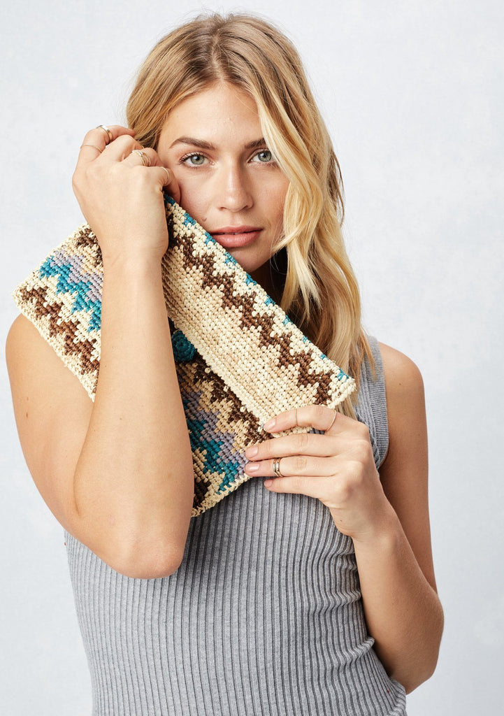 [Color: Natural/Blue] Lovestitch natural & blue, lightweight, zig-zag patterned raffia clutch with single button closure.