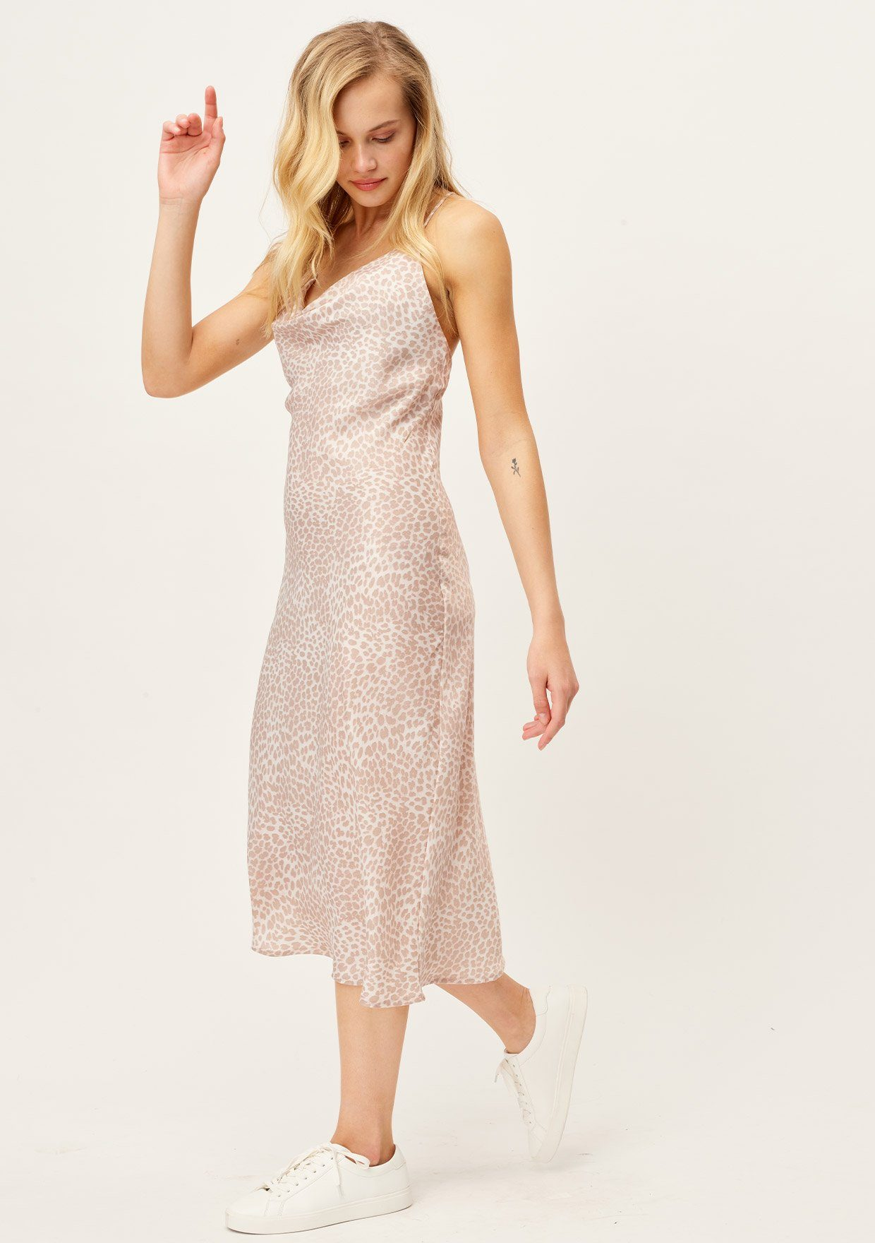 [Color: Nude/Sand] Lovestitch sexy cowl neck silky leopard print pink midi dress