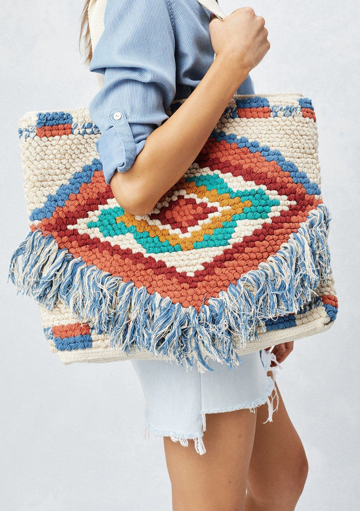 [Color: Multi] Lovestitch southwest inspired, multi-colored tote bag with fringe detail.