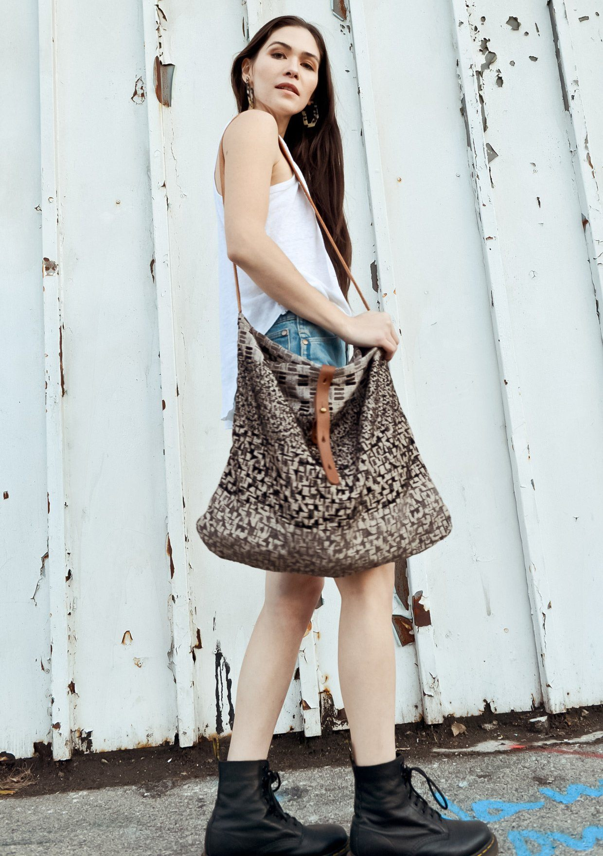 [Color: Black/Grey] Lovestitch Roomy Tapestry Tote with Cotton Strap
