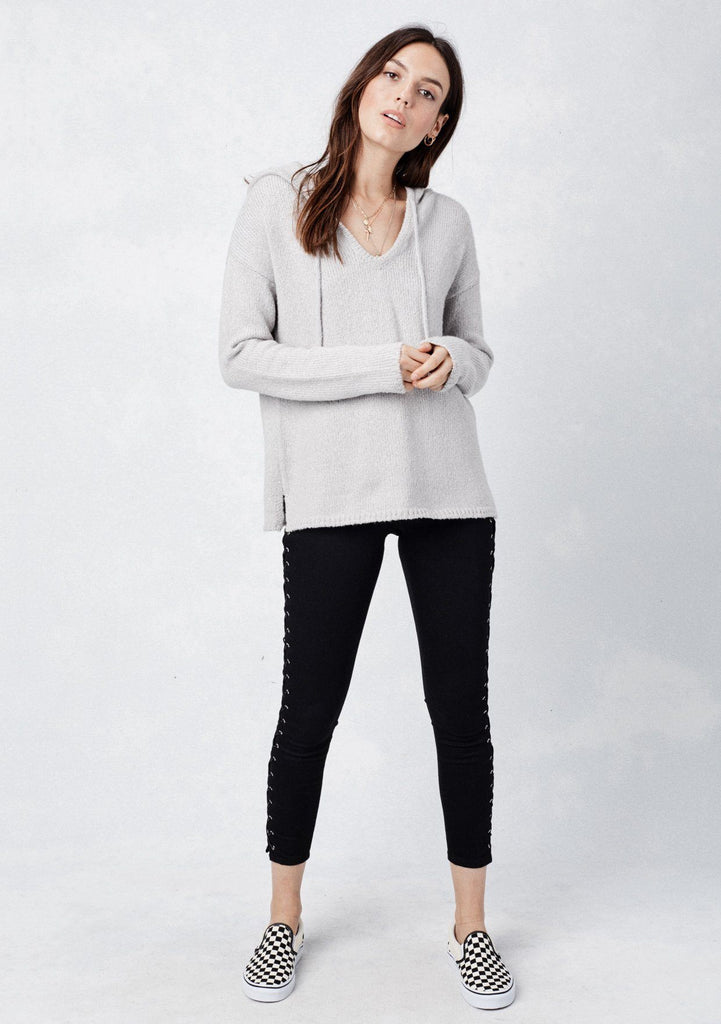[Color: Heather Grey] Lovestitch light grey, cozy and super soft V-neck pullover hoodie