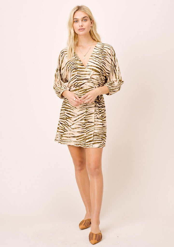 [Color: Sahara/Nude] Lovestitch animal print, silky crepe, mini wrap dress.