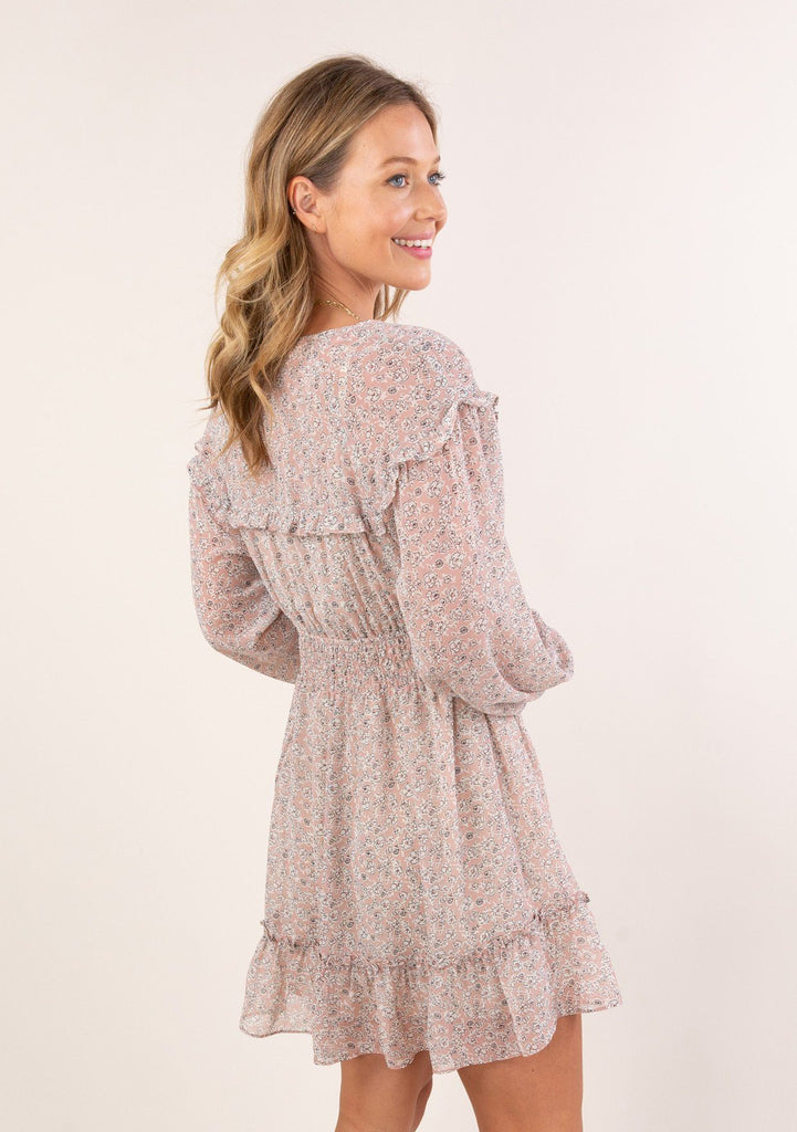 [Color: Blush Ivory] Ultra feminine and flirty sheer ditsy floral mini dress. A cute boho dress in a gauzy lightweight fabric. Lined bodice and skirt are attached.